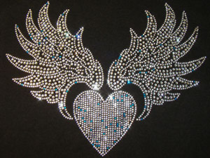 Rhinestone Heart with Wings (Silver)