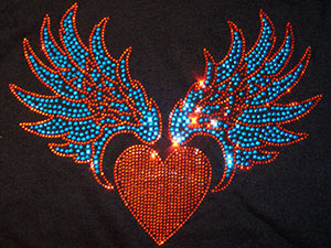 Rhinestone Heart with Wings (Colored)
